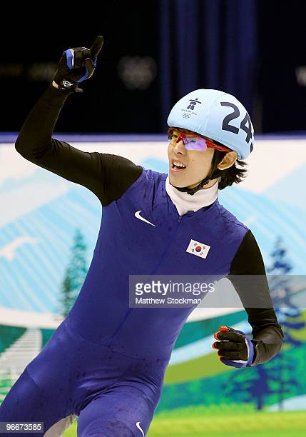 JungSu Lee of South Korea celebrates winning the gold medal in the Men's 1500 m Short Track finals on day 2 of the Vancouver 2010 Winter Olympics at...
