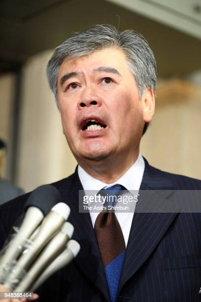 Junichi Fukuda the top bureaucrat at the Finance Ministry speaks to media reporters after his resignation on April 18 2018 in Tokyo Japan Finance...