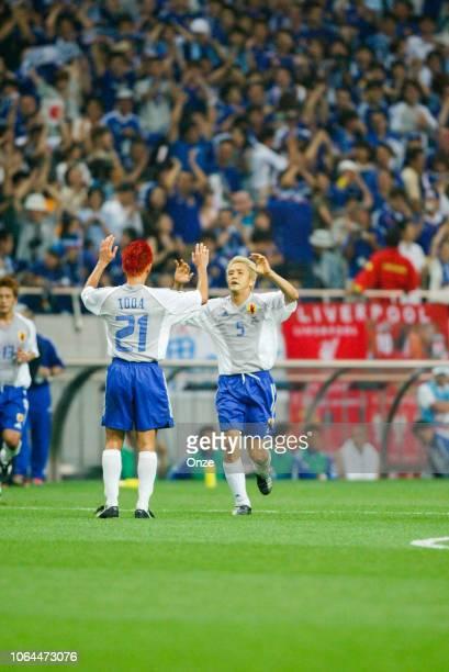 Junichi Inamoto of Japan celebrates his second goal during the World Cup match between Japan and Belgium in Saitama Stadium in Saitama Japan on June...