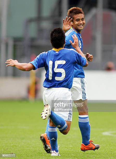 Junichi Inamoto of Japan celebrates the fourth goal during the international friendly match between Ghana and Japan at Stadion Galgenwaard on...