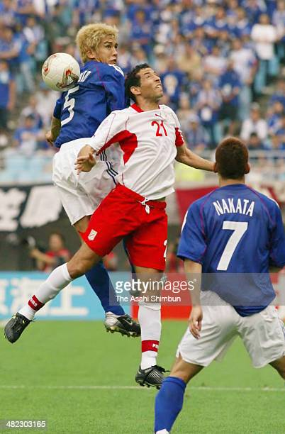 Junichi Inamoto of Japan in action during the FIFA World Cup Korea/Japan Group H match between Tunisia and Japan at Nagai Stadium on June 14 2002 in...