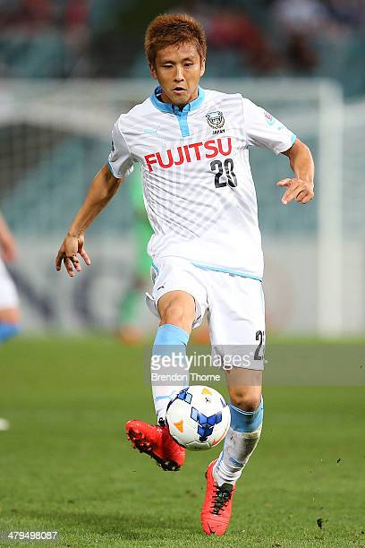 Junichi Inamoto of Kawasaki Frontale controls the ball during the AFC Asian Champions League match between the Western Sydney Wanderers and Kawasaki...