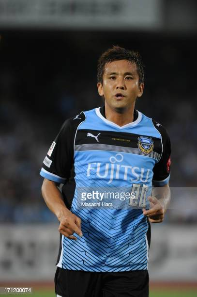 Junichi Inamoto of Kawasaki Frontale looks on during the JLeague Yamazaki Nabisco Cup quarter final match between Kawasaki Frontale and Vegalta...