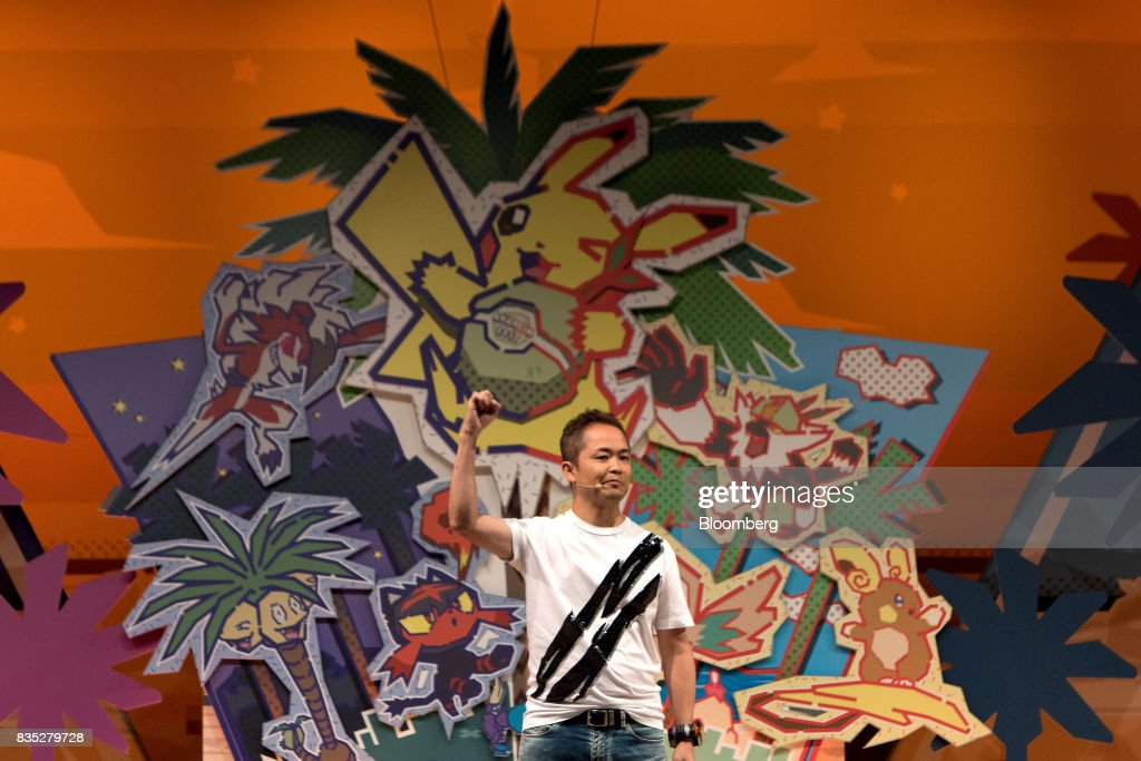 Junichi Masuda, video game producer for Game Freak, speaks during the 2017 Pokmon Co. World Championships in Anaheim, California, U.S., on Friday, Aug. 18, 2017. The invitation-only event brings the best players from around the world to compete for the title of Pokémon TCG, Video Game, or Pokkén Tournament World Champion. Photographer: Troy Harvey/Bloomberg via Getty Images