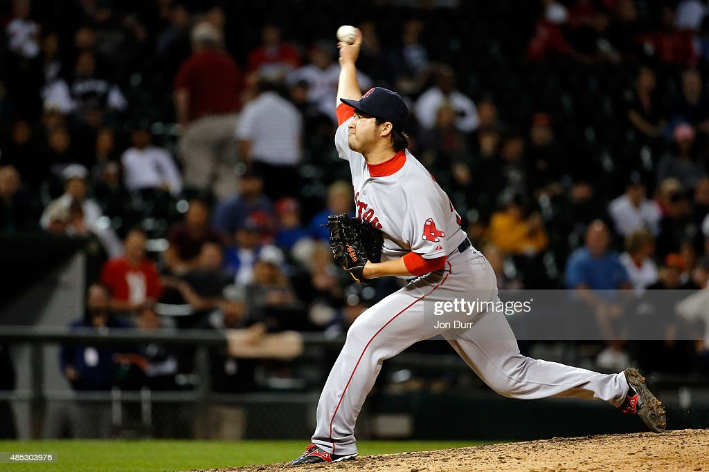 Junichi Tazawa #36 of the Boston Red Sox pitches against the Chicago White Sox during the ninth inning at U.S. Cellular Field on August 26, 2015 in Chicago, Illinois. The Boston Red Sox won 3-0.