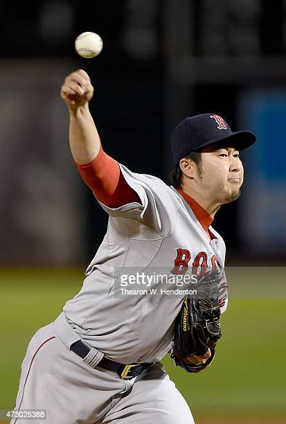 Junichi Tazawa of the Boston Red Sox pitches against the Oakland Athletics in the bottom of the seventh inning at Oco Coliseum on May 11 2015 in...