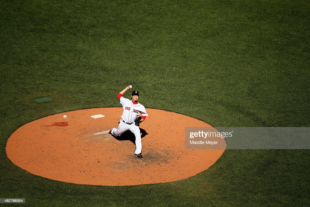 Junichi Tazawa #36 of the Boston Red Sox pitches against the Tampa Bay Rays during the eighth inning at Fenway Park on August 2, 2015 in Boston, Massachusetts.
