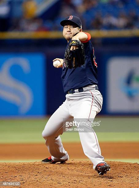 Junichi Tazawa of the Boston Red Sox pitches during the eighth inning of a game against the Tampa Bay Rays on September 11, 2015 at Tropicana Field...