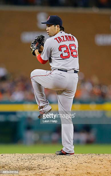 Junichi Tazawa of the Boston Red Sox pitches during the seventh inning of the game against the Detroit Tigers on August 8, 2015 at Comerica Park in...