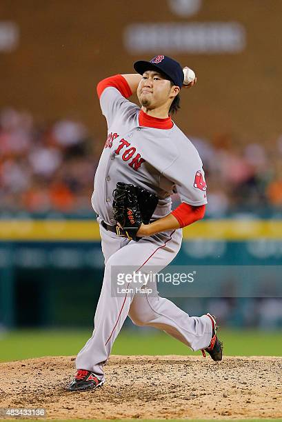 Junichi Tazawa of the Boston Red Sox pitches during the seventh inning of the game against the Detroit Tigers on August 8 2015 at Comerica Park in...