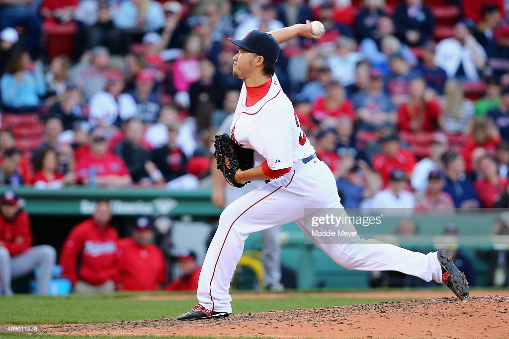 Junichi Tazawa #36 of the Boston Red Sox throws a pitch against the Washington Nationals during the ninth inning at Fenway Park on April 13, 2015 in Boston, Massachusetts.