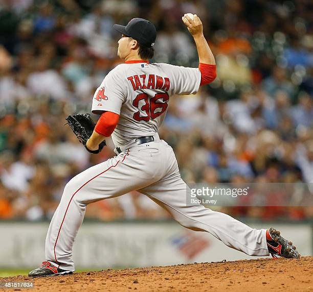 Junichi Tazawa of the Boston Red Sox throws in the eighth inning against the Houston Astros at Minute Maid Park on July 21 2015 in Houston Texas