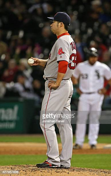 Junichi Tazawa of the Boston Red Sox waits for a replay in the 8th inning against the Chicago White Sox at US Cellular Field on May 3 2016 in Chicago...