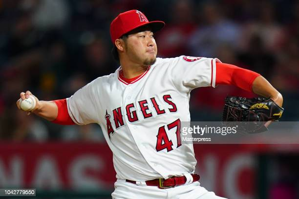 Junichi Tazawa of the Los Angeles Angels in action during a game against the Oakland Athletics at Angel Stadium on September 28 2018 in Anaheim...