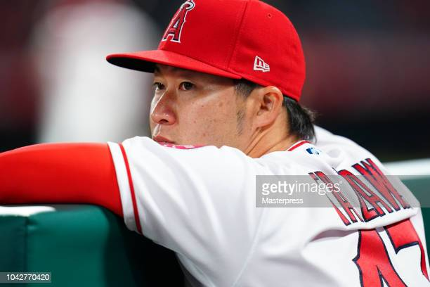 Junichi Tazawa of the Los Angeles Angels looks on during a game against the Oakland Athletics at Angel Stadium on September 28 2018 in Anaheim...
