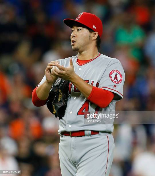 Junichi Tazawa of the Los Angeles Angels of Anaheim pitches in the seventh inning against the Houston Astros at Minute Maid Park on September 2 2018...