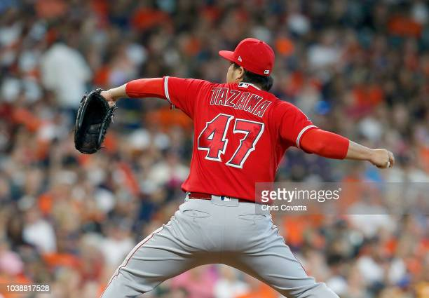 Junichi Tazawa of the Los Angeles Angels pitches against the Houston Astros at Minute Maid Park on September 23 2018 in Houston Texas