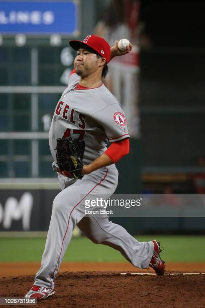 Junichi Tazawa of the Los Angeles Angels pitches during the game against the Houston Astros at Minute Maid Park on Sunday September 2 2018 in Houston...