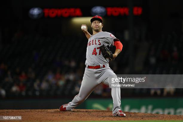 Junichi Tazawa of the Los Angeles Angels throws against the Texas Rangers at Globe Life Park in Arlington on September 4 2018 in Arlington Texas