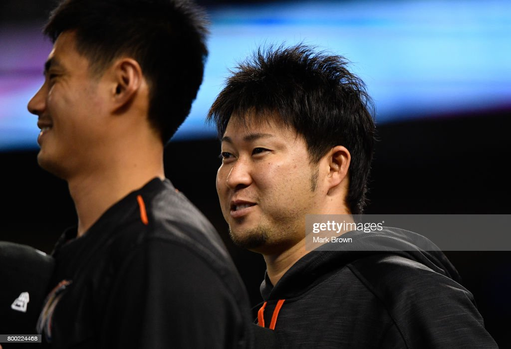 Junichi Tazawa #25 of the Miami Marlins before the game between the Miami Marlins and the Chicago Cubs at Marlins Park on June 23, 2017 in Miami, Florida.