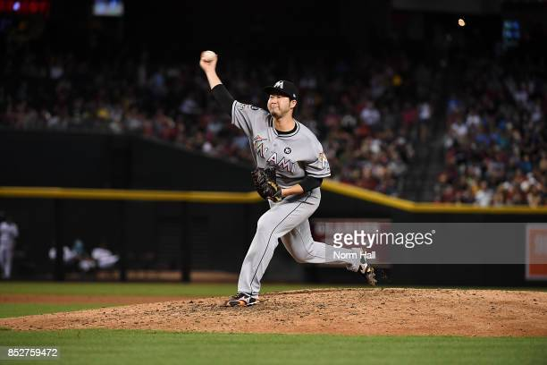 Junichi Tazawa of the Miami Marlins delivers a pitch against the Arizona Diamondbacks at Chase Field on September 22 2017 in Phoenix Arizona