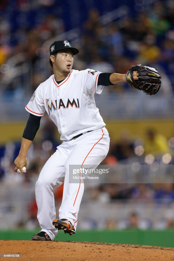 Junichi Tazawa #25 of the Miami Marlins delivers a pitch in the ninth inning against the Pittsburgh Pirates at Marlins Park on April 15, 2018 in Miami, Florida. All players are wearing #42 in honor of Jackie Robinson Day.