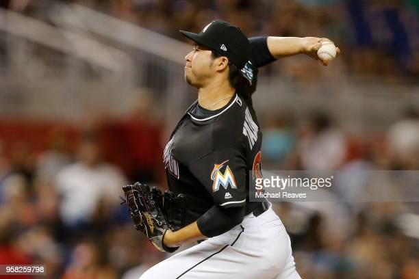 Junichi Tazawa of the Miami Marlins in action against the Atlanta Braves at Marlins Park on May 11 2018 in Miami Florida