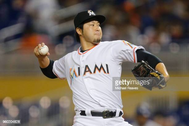 Junichi Tazawa of the Miami Marlins in action against the Los Angeles Dodgers at Marlins Park on May 17 2018 in Miami Florida
