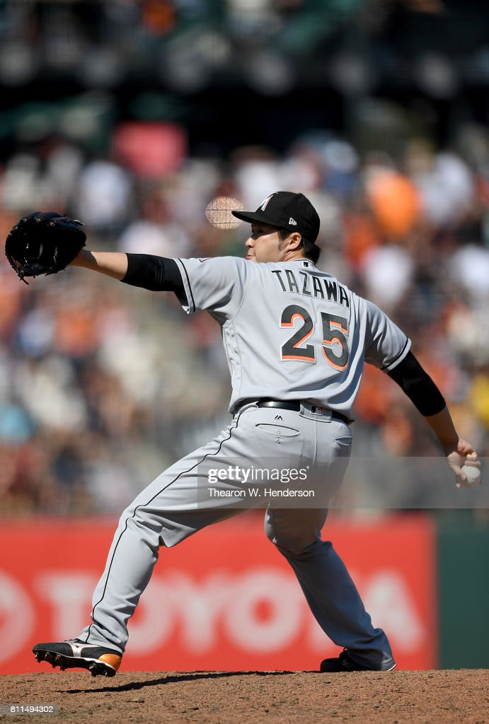 Junichi Tazawa #25 of the Miami Marlins pitches against the San Francisco Giants in the bottom of the eighth inning at AT&T Park on July 9, 2017 in San Francisco, California.