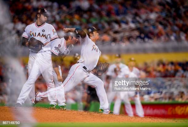 Junichi Tazawa of the Miami Marlins pitches during the game against the Atlanta Braves at Marlins Park on October 1 2017 in Miami Florida