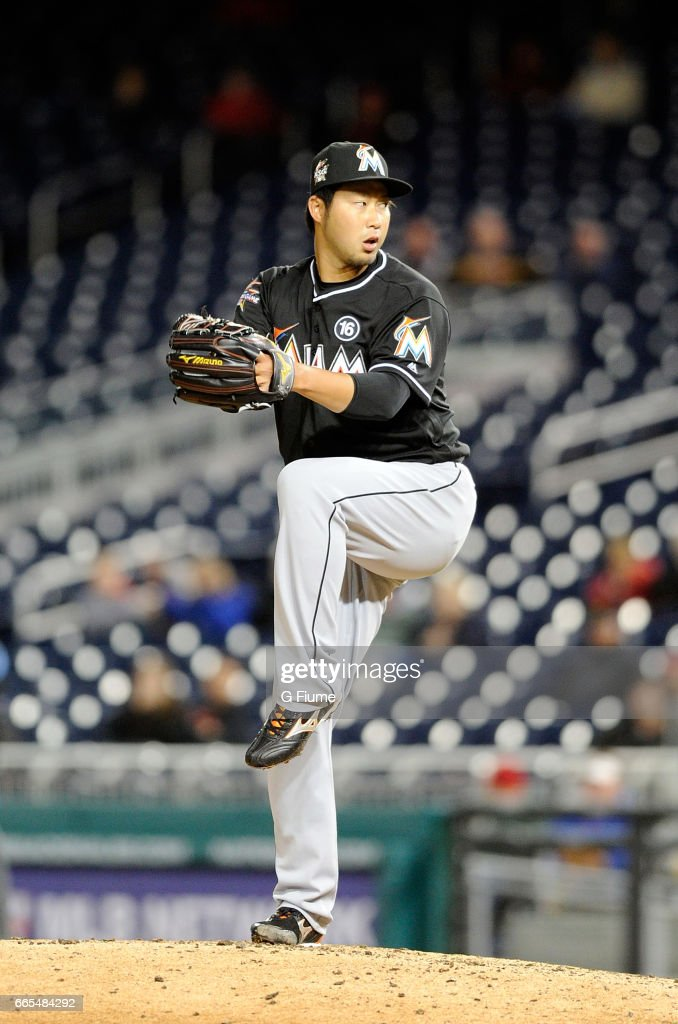 Junichi Tazawa #25 of the Miami Marlins pitches in the eighth inning against the Washington Nationals at Nationals Park on April 6, 2017 in Washington, DC. Miami won the game 4-3.