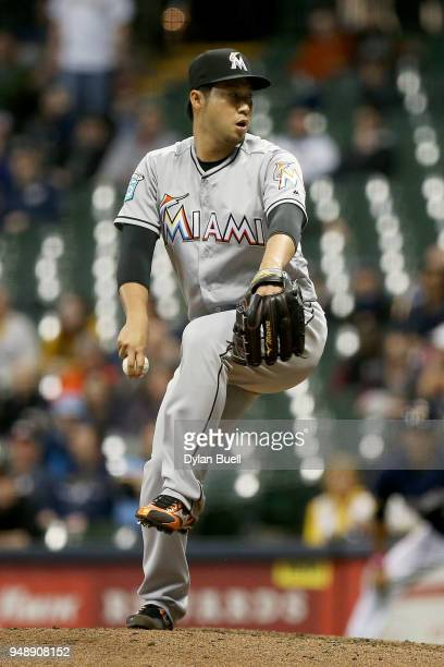 Junichi Tazawa of the Miami Marlins pitches in the sixth inning against the Milwaukee Brewers at Miller Park on April 19 2018 in Milwaukee Wisconsin