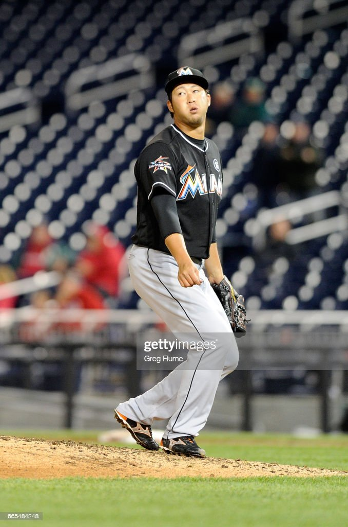 Junichi Tazawa #25 of the Miami Marlins reacts after giving up a home run in the eighth inning to Ryan Zimmerman #11 (not pictured) of the Washington Nationals at Nationals Park on April 6, 2017 in Washington, DC. Miami won the game 4-3.