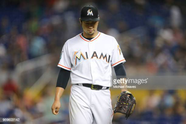 Junichi Tazawa of the Miami Marlins reacts after the fourth inning against the Los Angeles Dodgers at Marlins Park on May 17 2018 in Miami Florida