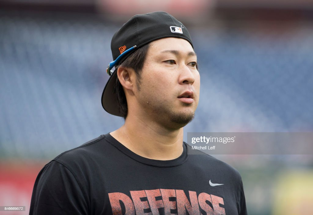 Junichi Tazawa #25 of the Miami Marlins walks to the dugout prior to the start of the the against the Philadelphia Phillies at Citizens Bank Park on September 13, 2017 in Philadelphia, Pennsylvania. The Phillies defeated the Marlins 8-1.