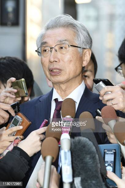 Junichiro Hironaka a lawyer for former Nissan Motor Co Chairman Carlos Ghosn tells reporters in Tokyo on March 12 there is no plan for Ghosn to hold...