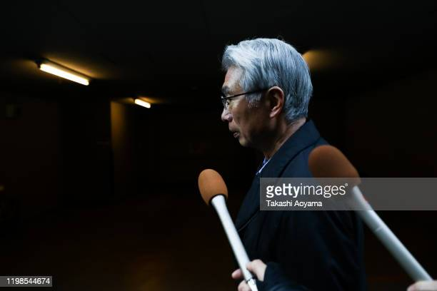 Junichiro Hironaka a lawyer representing former Nissan Motor Co Chairman Carlos Ghosn is surrounded by the media as he walk to his office on January...