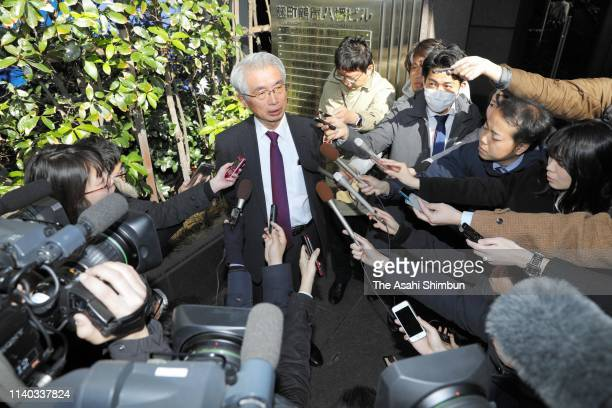 Junichiro Hironaka, the lead defense lawyer for former Nissan Motor Co CEO Carlos Ghosn speaks to media reporters after his re-arrest on April 4,...