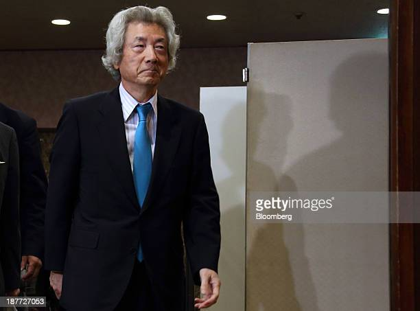 Junichiro Koizumi, former Japan prime minister, arrives for a news conference at the Japan National Press Club in Tokyo, Japan, on Tuesday, Nov. 12,...