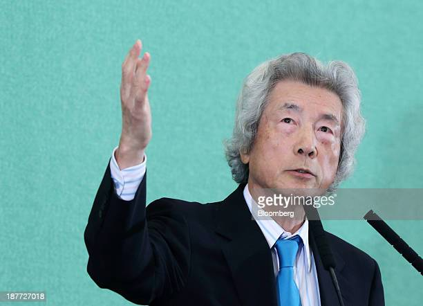 Junichiro Koizumi former Japan prime minister gestures as he speaks during a news conference at the Japan National Press Club in Tokyo Japan on...