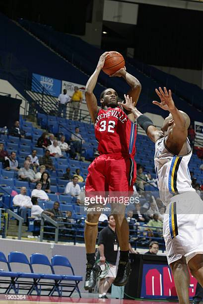 Junie Sanders of the Fayetteville Patriots takes a jump shot against the Roanoke Dazzle during Game One of the NBDL Semifinals at the Crown Coliseum...