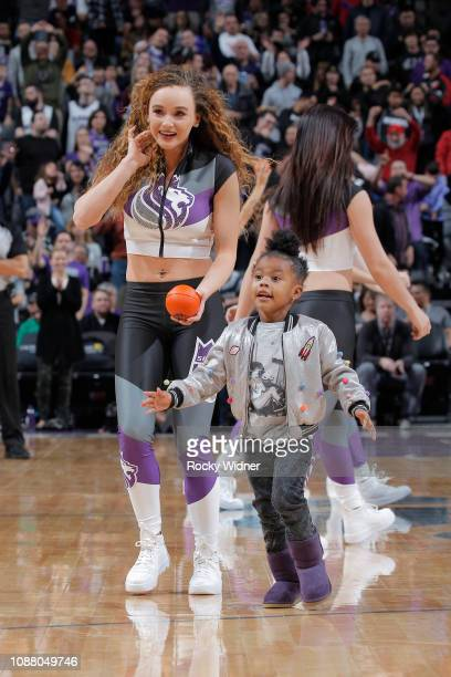 Junie Shumpert daughter of Iman Shumpert of the Sacramento Kings on court during the game between the Portland Trail Blazers and Sacramento Kings on...