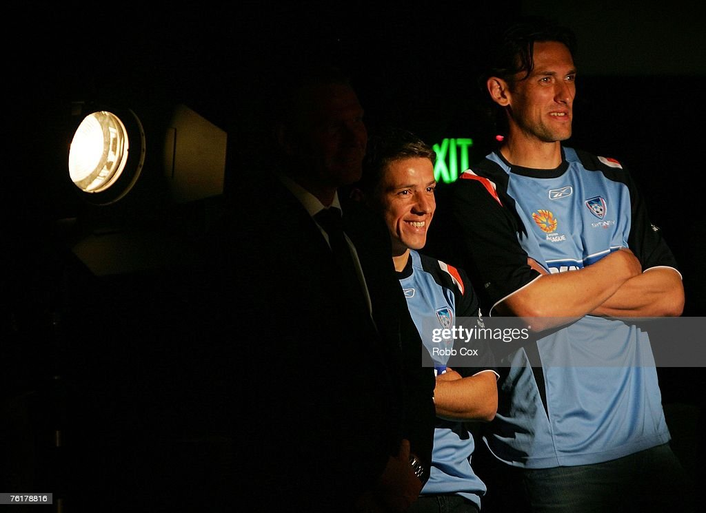 Juninho and Tony Popovic of Sydney FC look on during the 2007/2008 A-League Season Launch at The Entertainment Quarter on August 20, 2007 in Sydney, Australia.