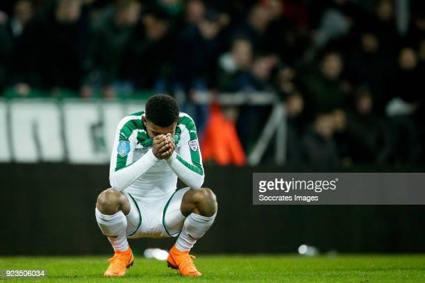 Juninho Bacuna of FC Groningen during the Dutch Eredivisie match between FC Groningen v NAC Breda at the NoordLease Stadium on February 23 2018 in...