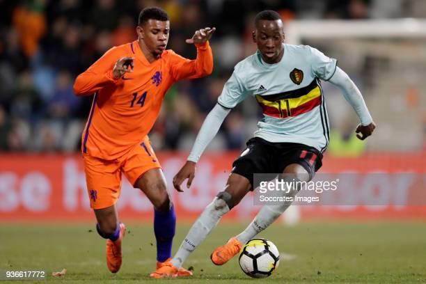 Juninho Bacuna of Holland U21 Dodi Lukebakio Ngandoli of Belgium U21 during the match between Holland U21 v Belgium U21 at the De Vijverberg on March...