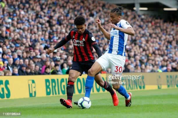 Juninho Bacuna of Huddersfield Town and Bernardo of Brighton Hove Albion during the Premier League match between Brighton Hove Albion and...