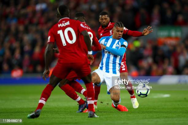 Juninho Bacuna of Huddersfield Town during the Premier League match between Liverpool FC and Huddersfield Town at Anfield on April 26 2019 in...