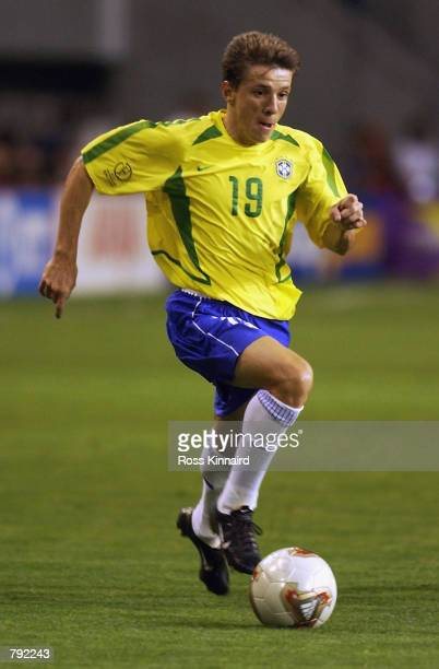 Juninho of Brazil runs with the ball during the FIFA World Cup Finals 2002 Second Round match between Brazil and Belgium played at the Kobe Wing...