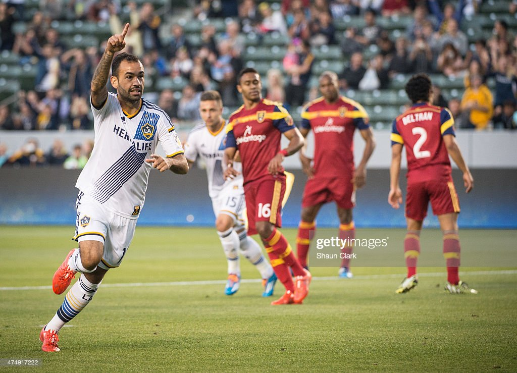 Juninho (19) of Los Angeles Galaxy celebrates his game winning penalty kick during the first half of the Los Angeles Galaxy's match against Real Salt Lake at the Stubhub Center on May 27, 2015 in Carson, California. The LA Galaxy won the match 1-0.