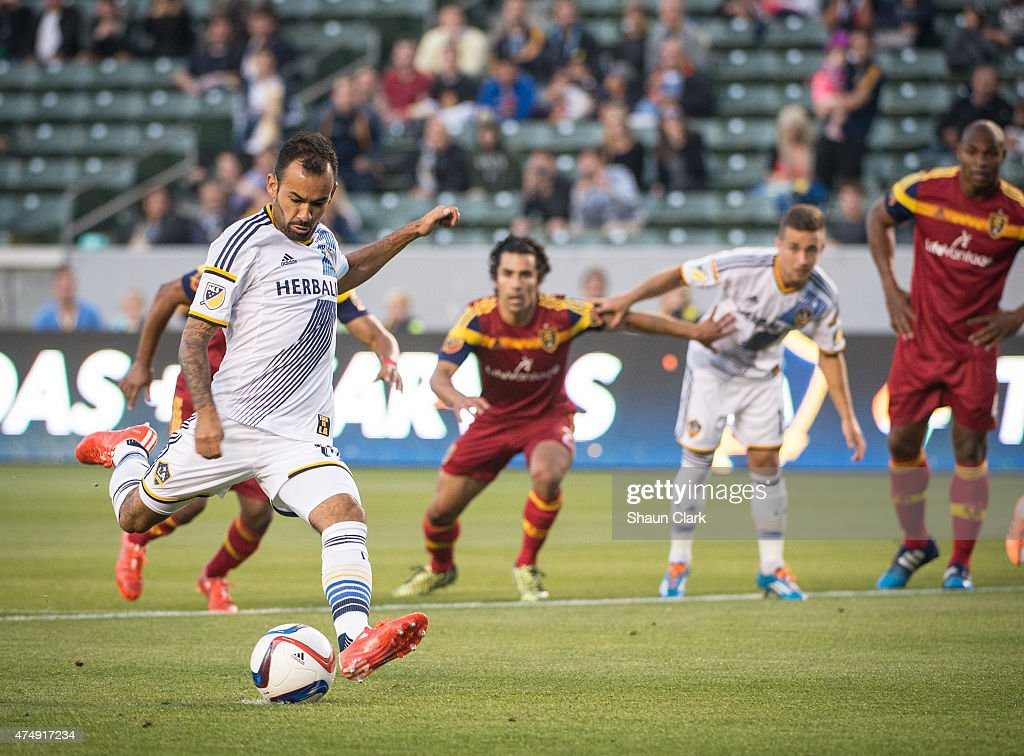 Juninho (19) of Los Angeles Galaxy scores a penalty kick during the first half of the Los Angeles Galaxy's match against Real Salt Lake at the Stubhub Center on May 27, 2015 in Carson, California.